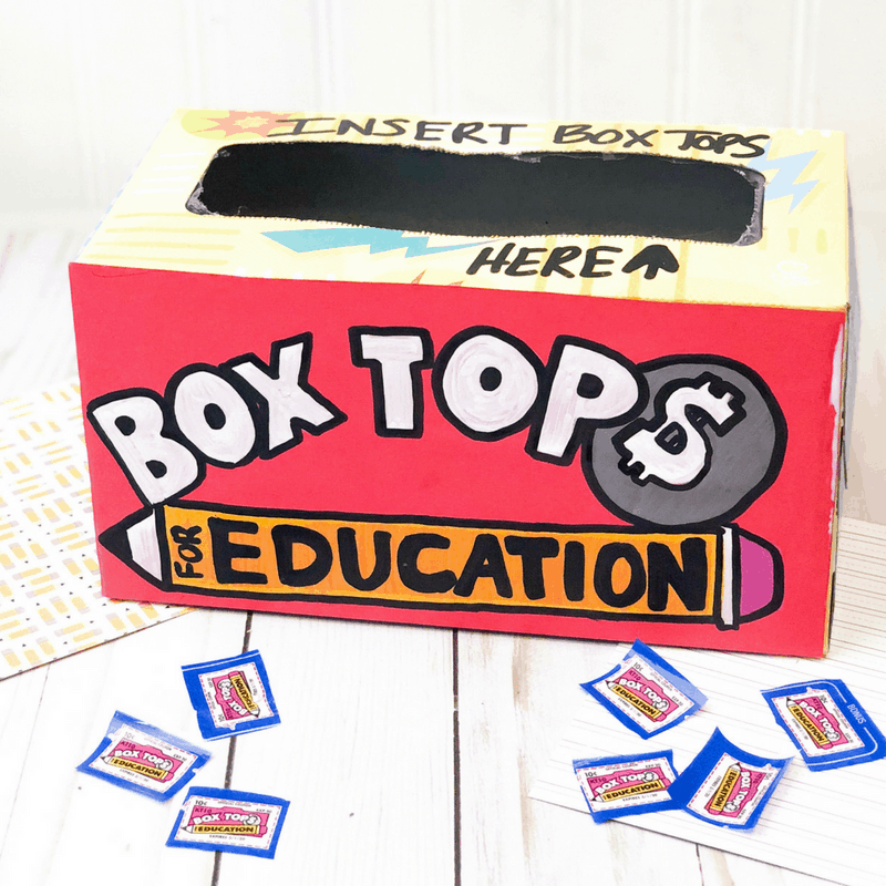 This upcycled Kleenex box serves as the perfect place to collect Box Tops at school. Great as a back to school classroom gift. #kleenexbox #upcycled #boxtops #backtoschool