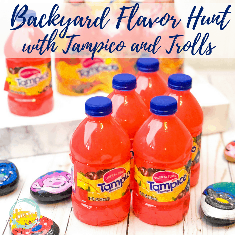 tampico juice bottles with text overlay backyard flavor hunt with tampico and trolls
