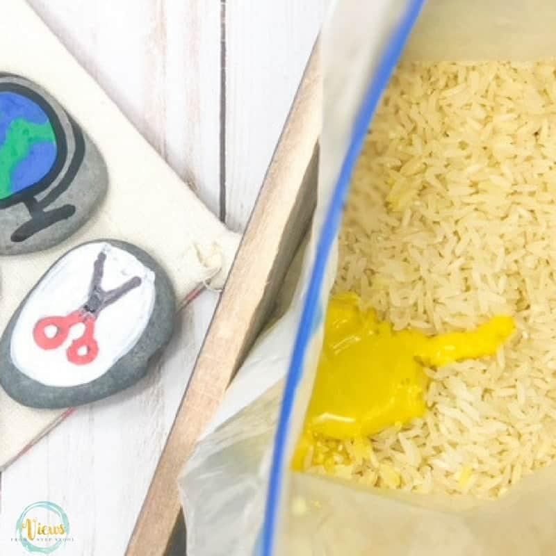 school sensory bin yellow rice