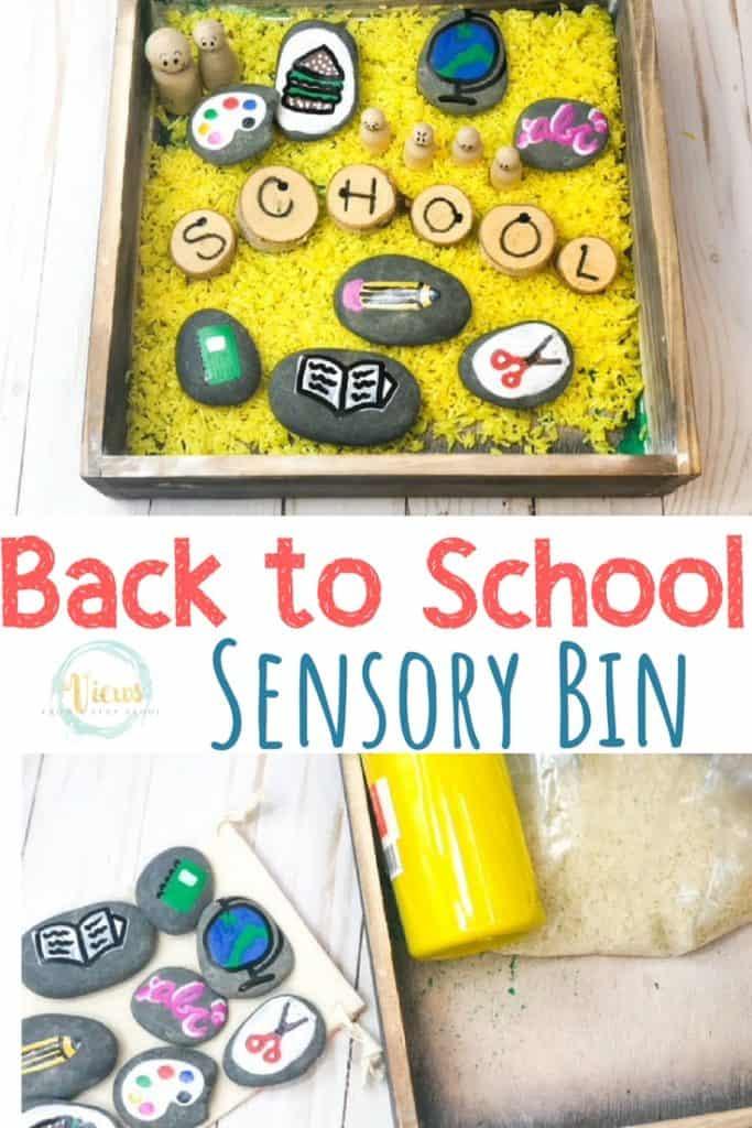 back to school text overlay with yellow rice sensory bin