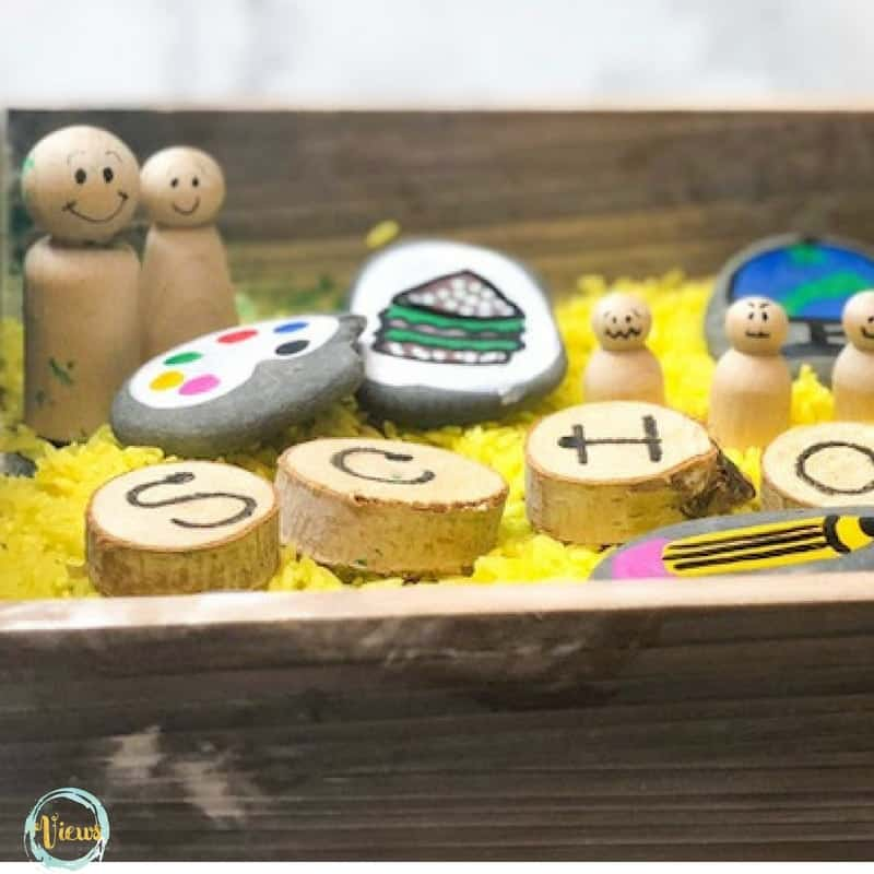 painted rocks, wooden dolls, wooden rounds