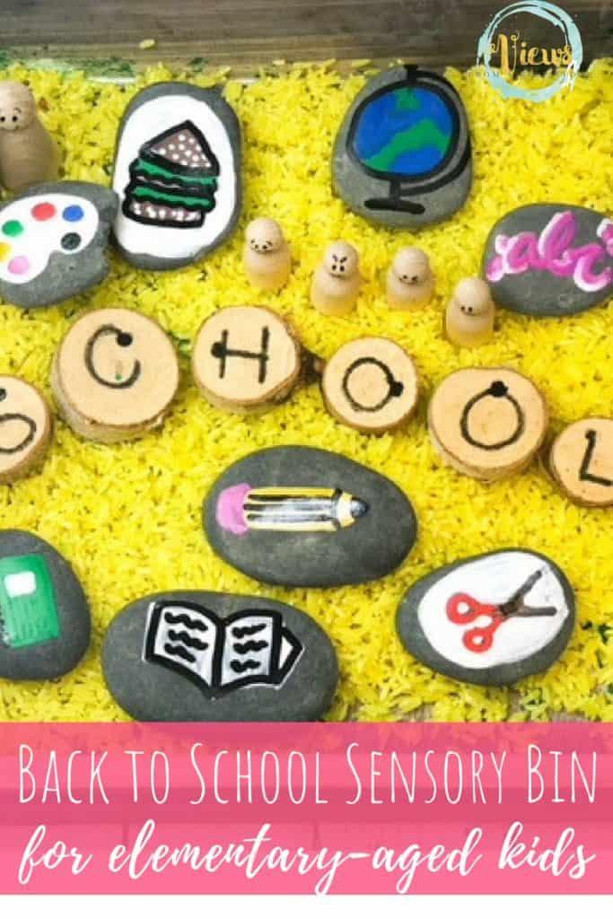 school sensory bin with yellow rice and painted rocks