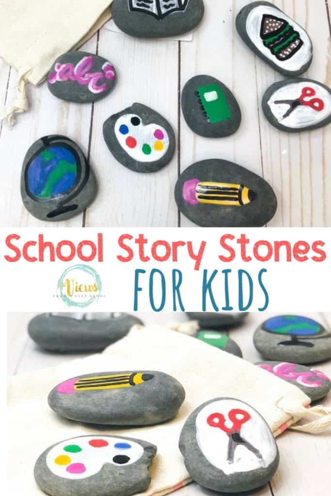 school themed painted rocks for story stones