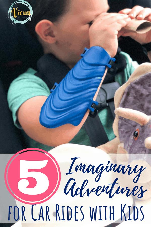 boy with binoculars in car