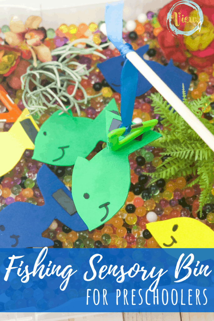 water beads and foam fish text overlay fishing sensory bin