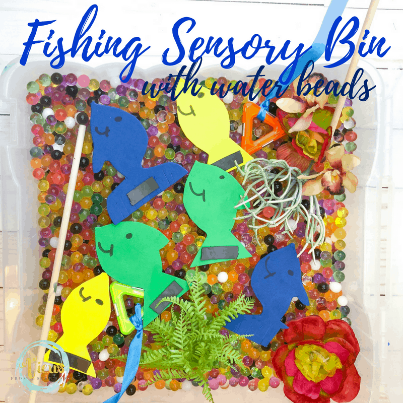 fishing sensory bin square