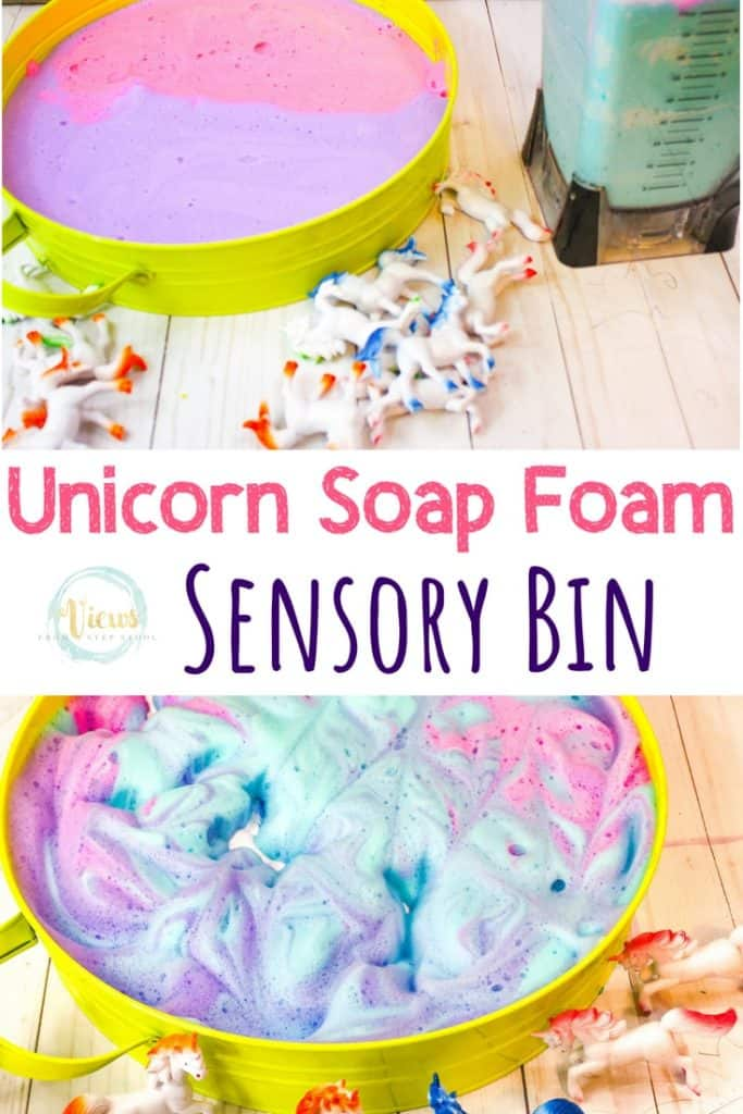 bin of blue purple and pink unicorn soap foam with unicorn toys