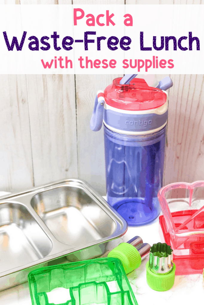 "kids drink cup and sandwich container with overlay ""pack a waste-free lunch with these supplies"""