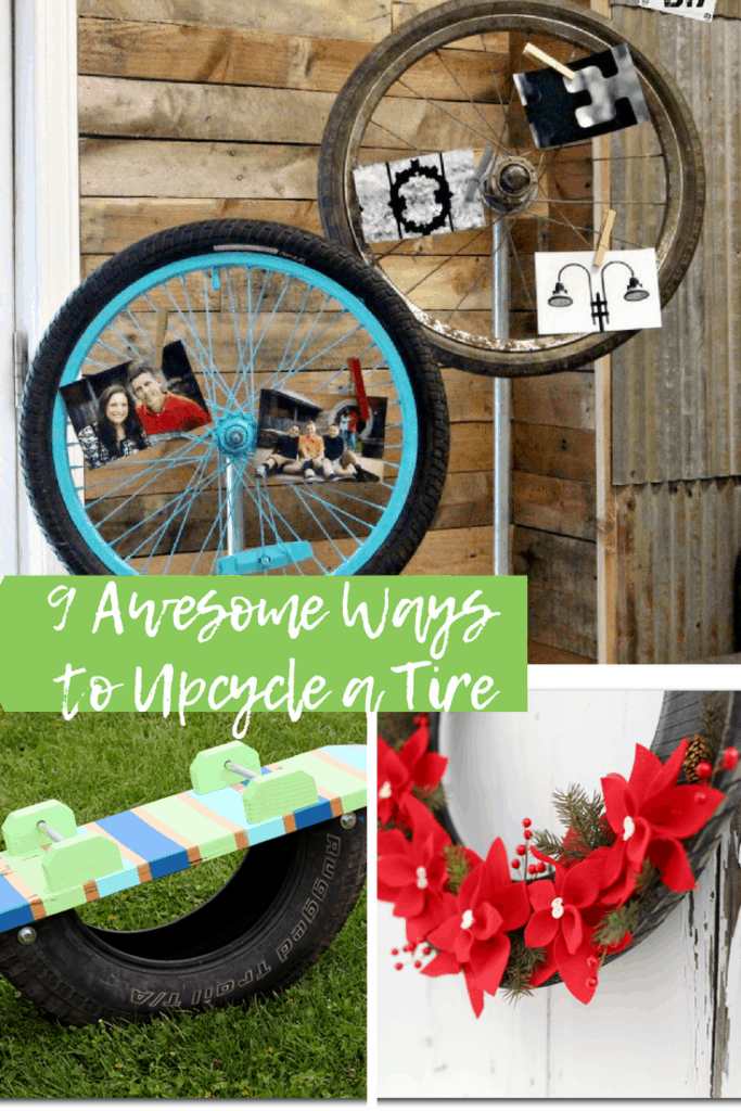 "tires repurposed and text overlay ""9 awesome ways to upcycle a tire"""