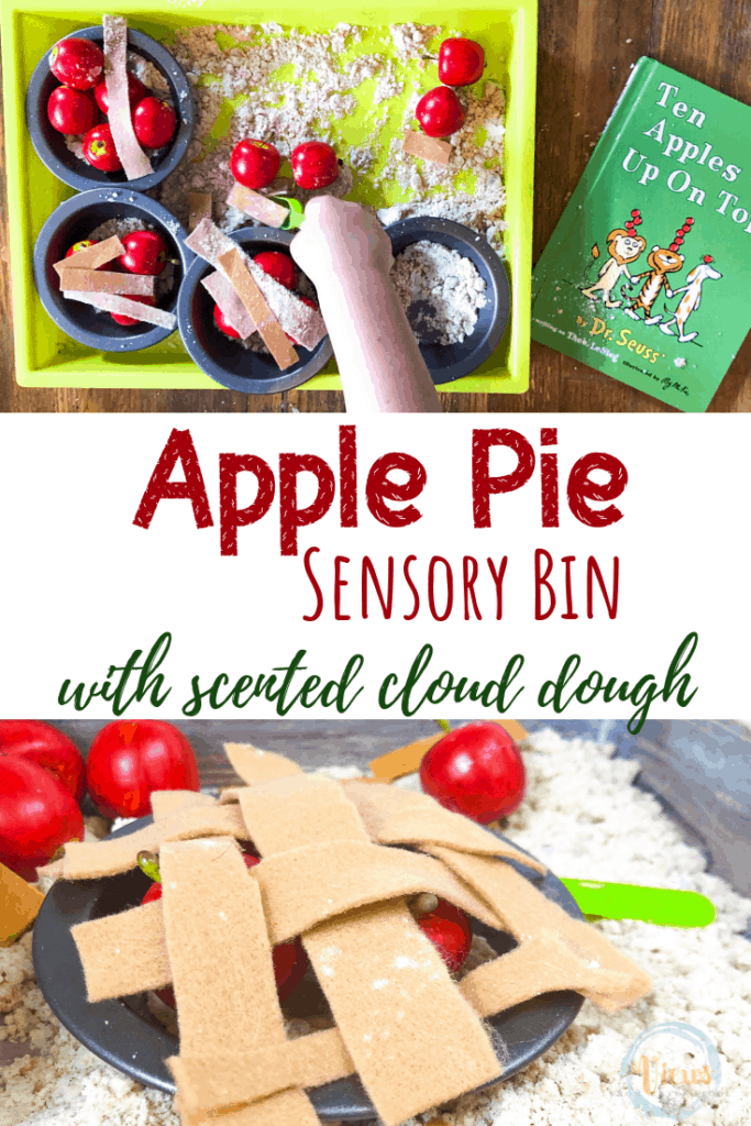 apple pie sensory bin with mini pie tins and cloud dough