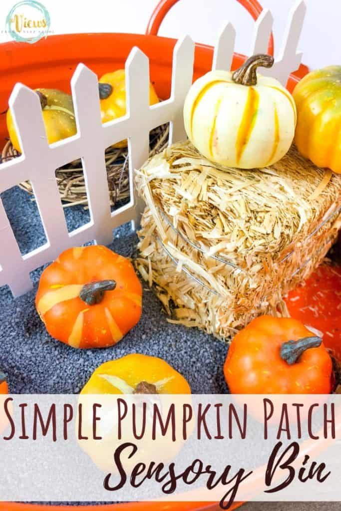 hay bale and fake pumpkins text overlay simple pumpkin patch sensory bin