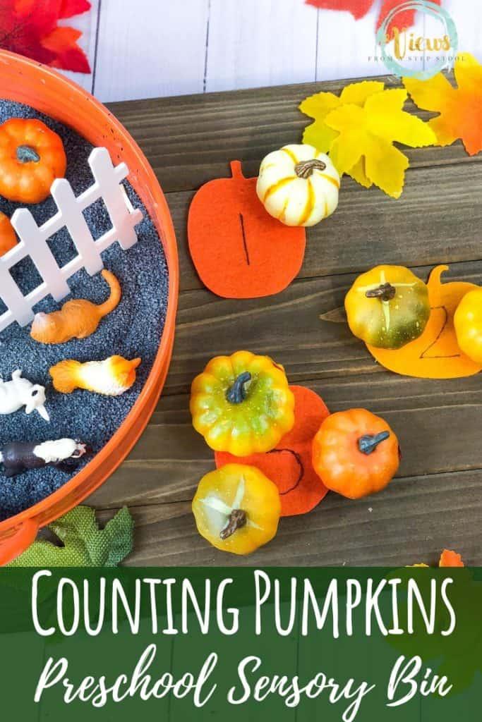pumpkin sensory bin with farm animals and felt pumpkins