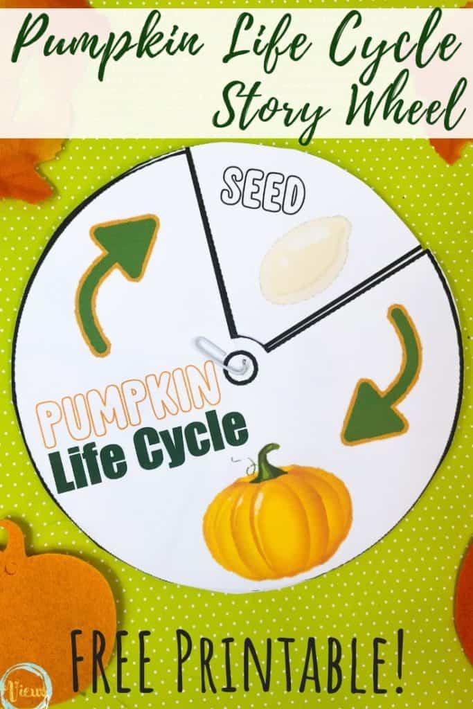 pumpkin life cycle story wheel printable for kids