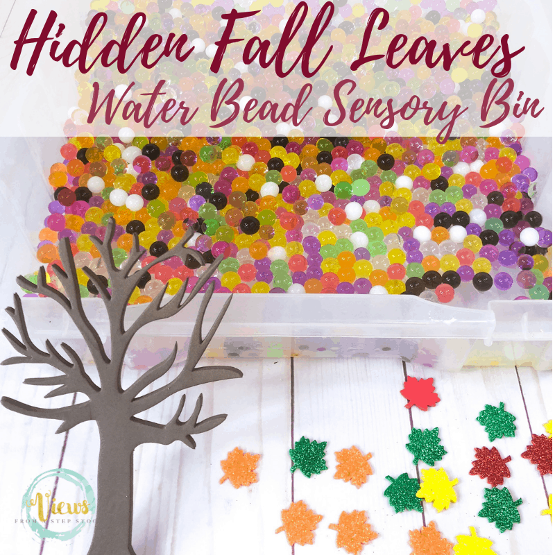 fall leaves sensory bin square