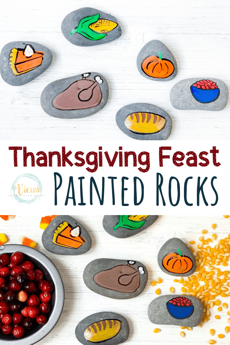 Thanksgiving Painted Rocks: Thanksgiving Dinner Feast