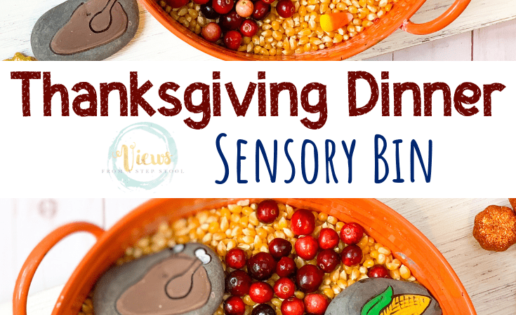 Thanksgiving Dinner Sensory Bin with Painted Rocks