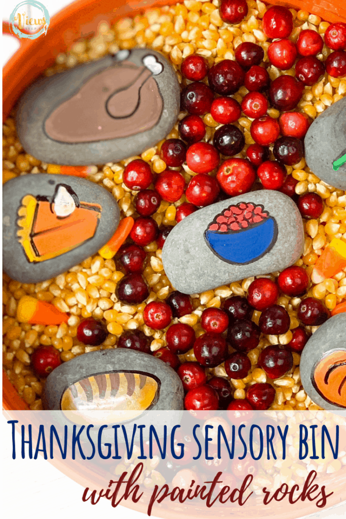A Thanksgiving dinner sensory bin that includes popcorn kernels and cranberries with some Thanksgiving dinner painted rocks. Adaptations for various ages.#thanksgivingsensorybin #thanksgivingkidsactivities #preschool #teachers #parenting #kidsholidays #sensoryprocessing