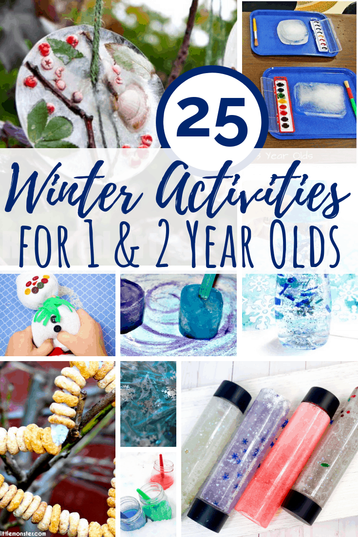 25 Winter activities for 1 year olds including sensory activities, arts and crafts, and fine motor practice for toddlers. #winteractivities #kidsactivities #toddlers #preschool #teachers #parents #sensory #sensoryplay #kidscrafts #wintercrafts