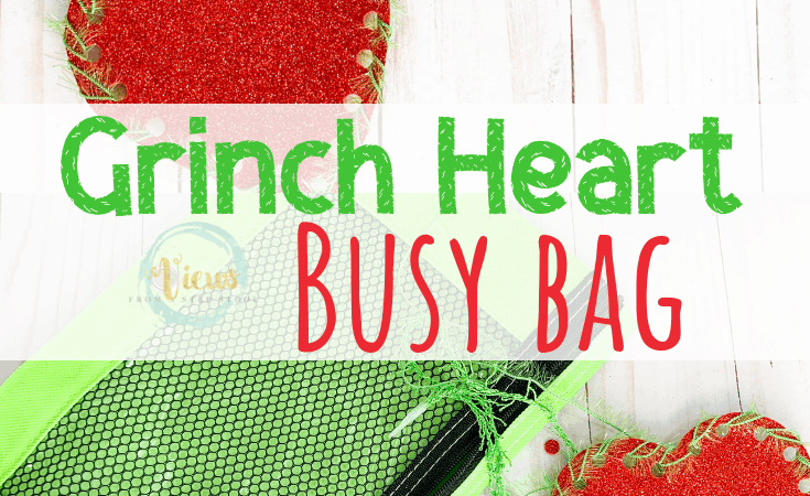 Woven Grinch Heart Busy Bag