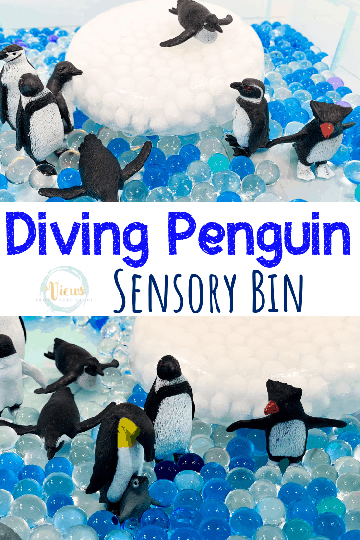 Penguin Sensory Bin with Frozen Water Beads