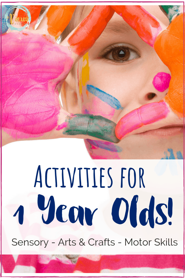 These activities for 1 year olds include sensory play, arts and crafts, fine motor and gross motor practice and more. Hands-on learning for toddlers. #toddlers #activitiesfor1yearolds #oneyearoldactivities #kidsactivities #parenting #preschool #homeschool #babies #sensoryplay #craftsfor1yearolds