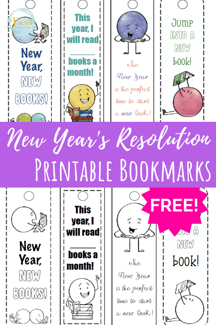 Free Printable Bookmarks: New Year's Reading Resolutions
