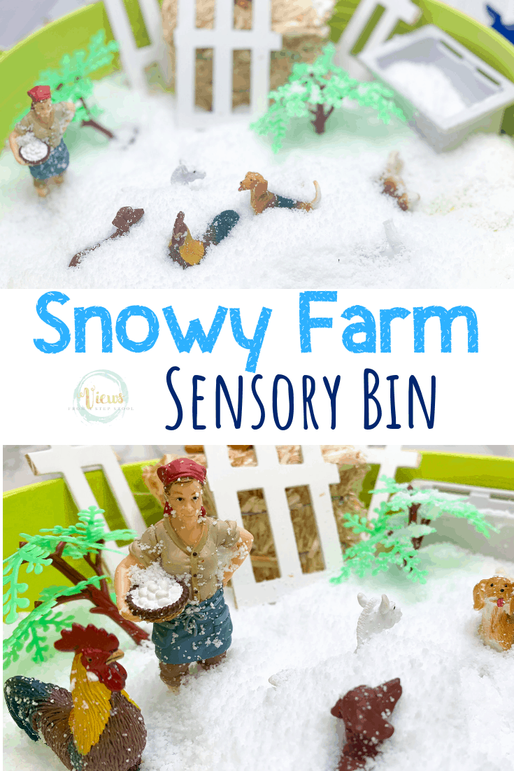 Winter Farm Fake Snow Sensory Bin