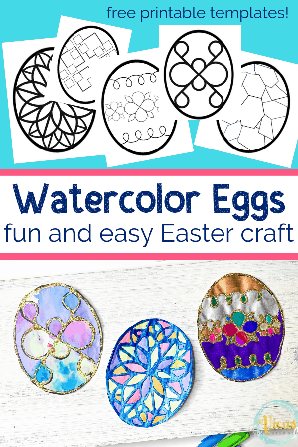 printable egg coloring pages for a stained glass craft with watercolor