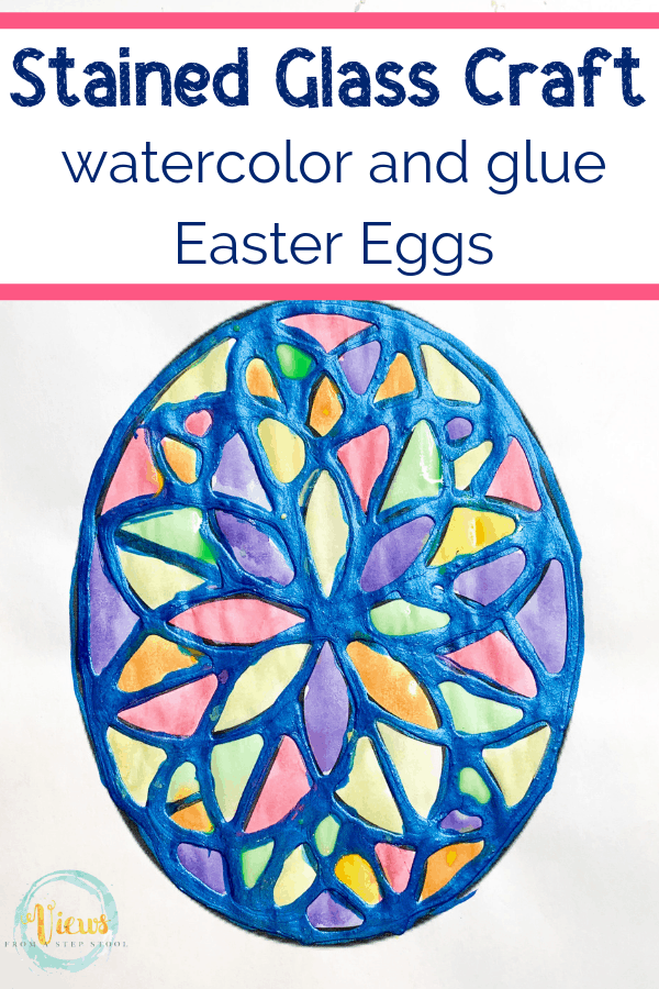 easter egg stained glass craft with watercolor