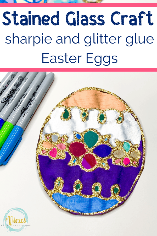 easter egg stained glass craft with sharpie markers