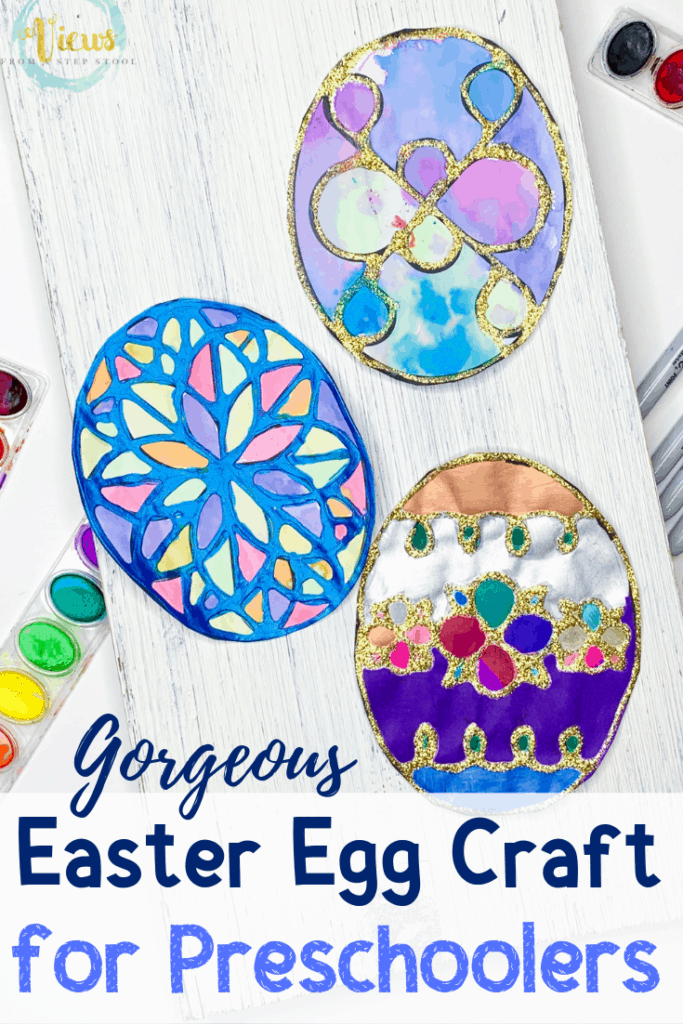 easter egg stained glass craft with made by toddlers