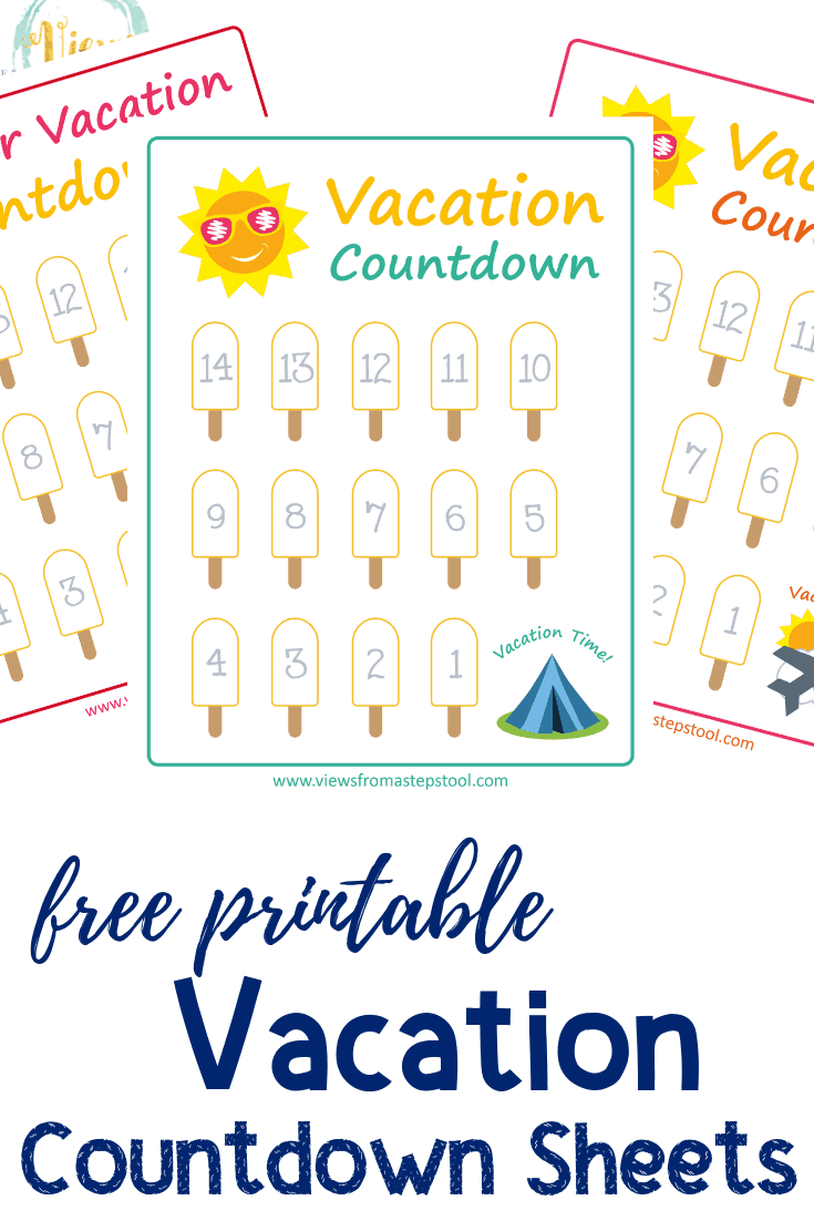 graphic relating to Countdown Calendar Printable called Summer months Getaway Countdown Printables - Opinions Versus a Phase Stool