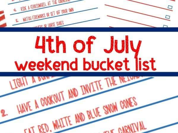 Printable 4th of July Bucket List