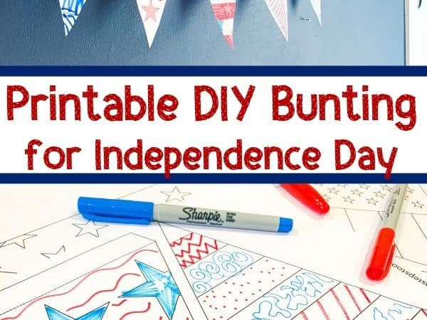 Printable 4th of July Bunting Craft to Color In