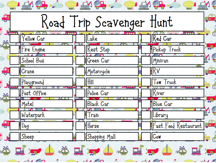 graphic about Road Trip Scavenger Hunt Printable named Printable Highway Family vacation Scavenger Hunt - Viewpoints In opposition to a Stage Stool