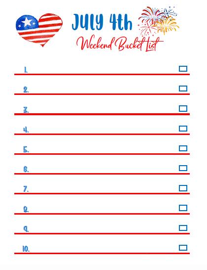 July 4th weekend bucket list
