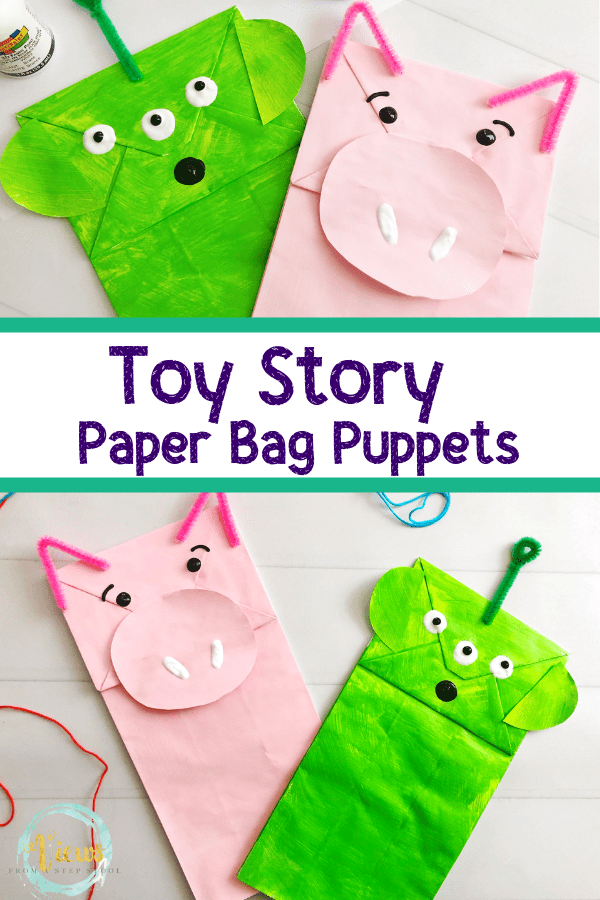 toy story pig and alien paper bag puppets