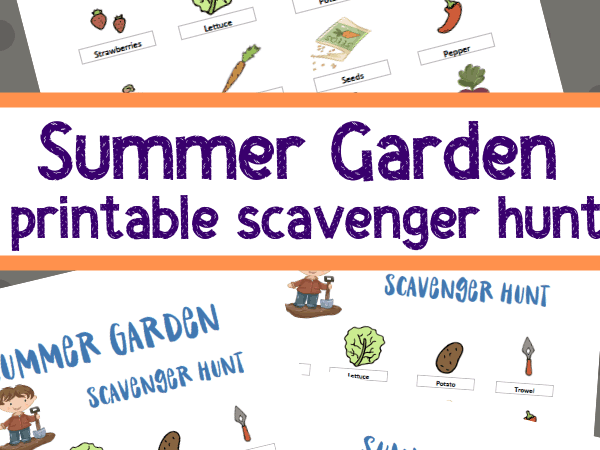 Printable Summer Garden Scavenger Hunt for Kids