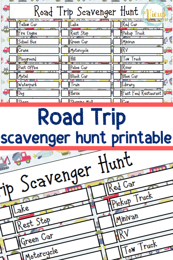 image relating to Road Trip Scavenger Hunt Printable referred to as Printable Highway Holiday vacation Scavenger Hunt - Viewpoints In opposition to a Stage Stool