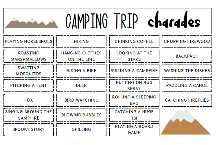 image regarding Charades Printable called Tenting Charades Printable Recreation - Viewpoints Towards a Phase Stool