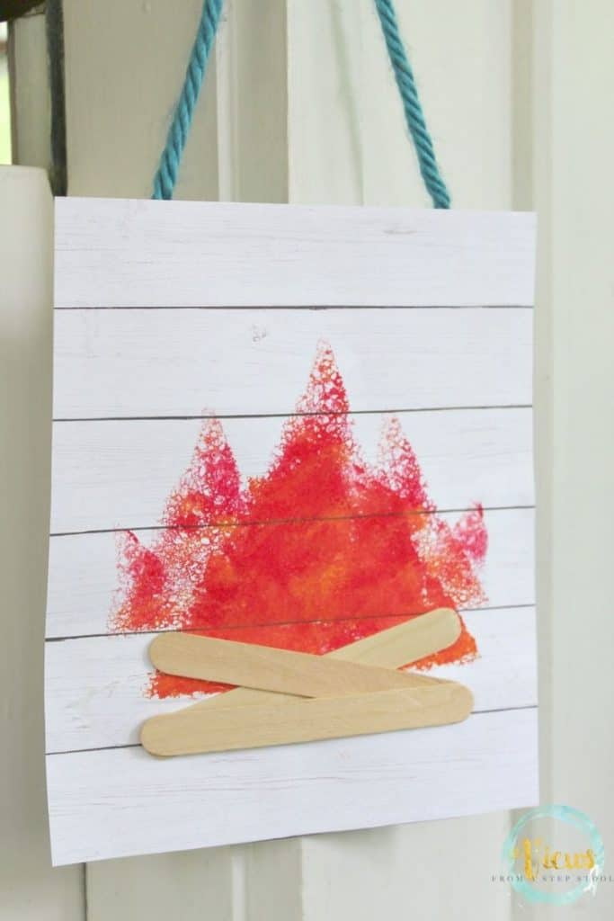 Sponge Stamped Camping Art For Kids Campfire Craft