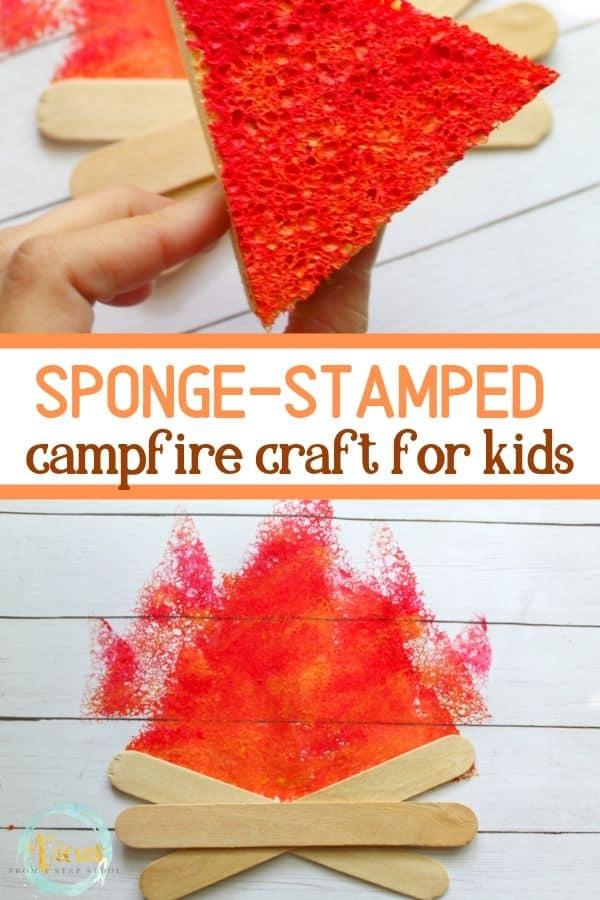 sponge stamed campfire craft for kids