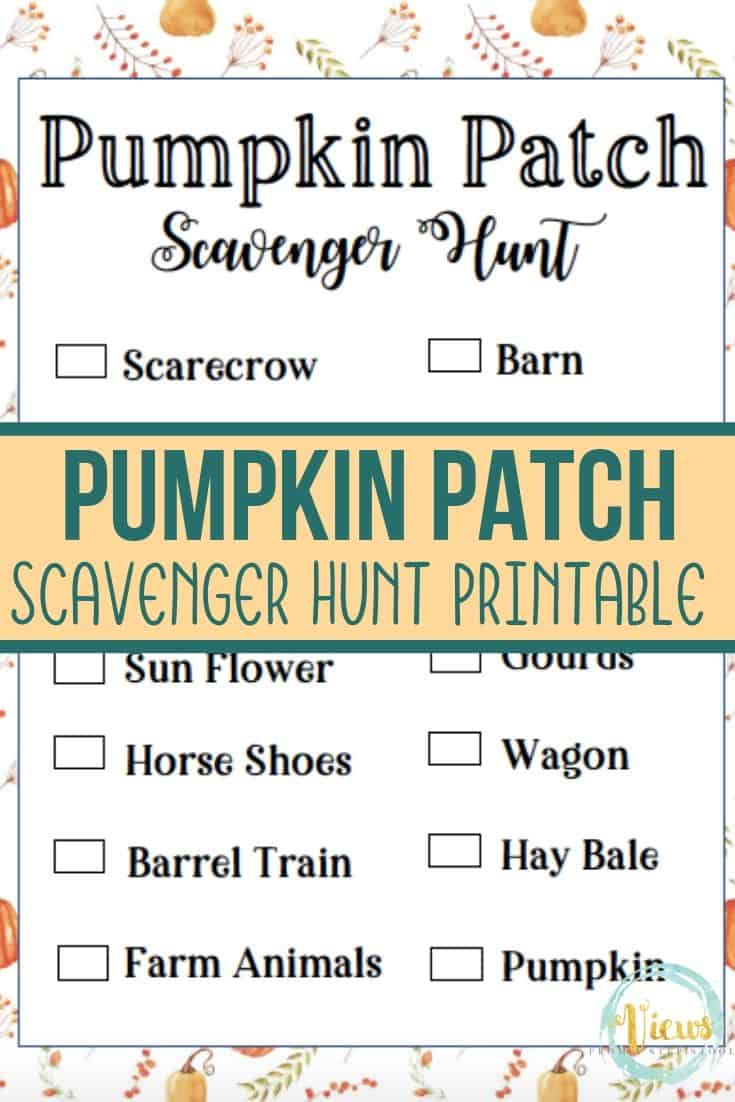 Printable Pumpkin Patch Scavenger Hunt