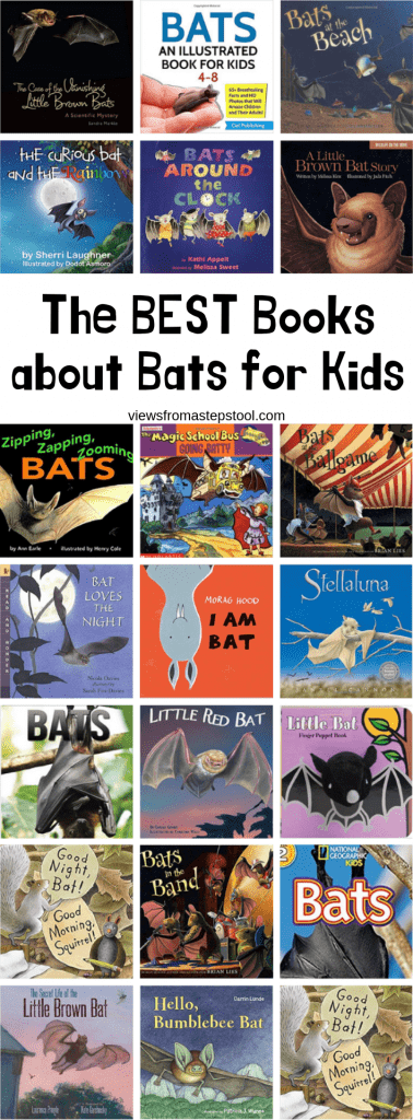 collage of bat books for kids