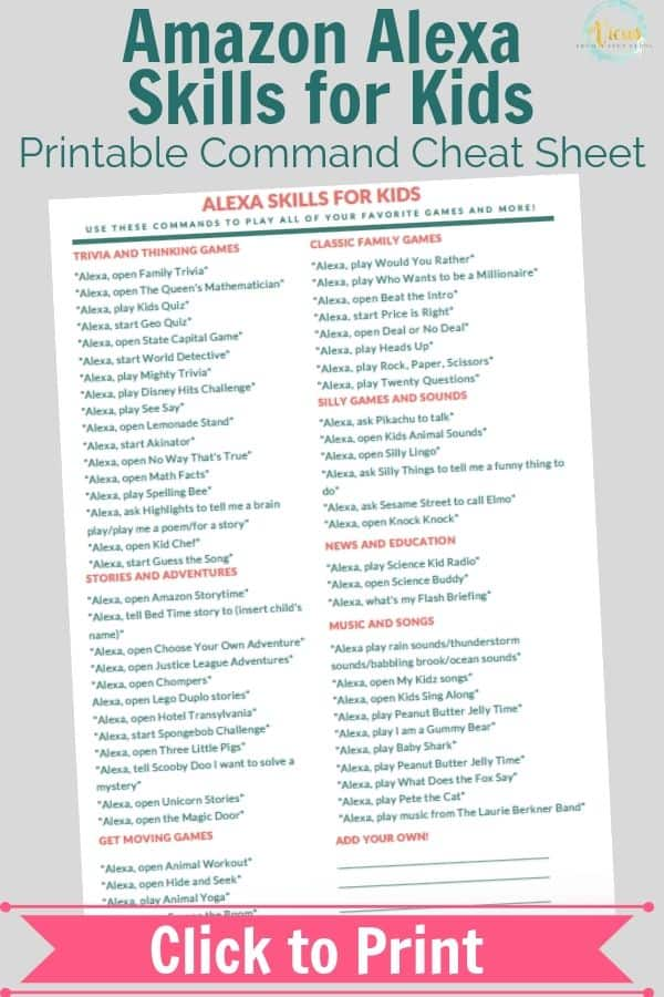 graphic about Guess the Disney Movie Song Printable named Amazon Alexa Competencies for Children + Cost-free Printable Cheat Sheet