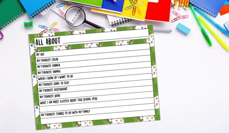 All About Me Printable for Back to School