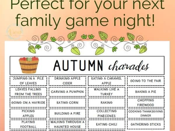 Fall Charades Printable Game for Families