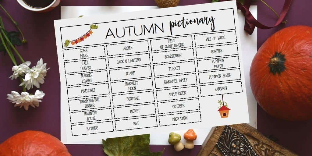 fall pictionary printable board game with pumpkins and flowers