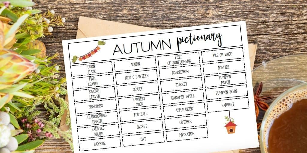 fall pictionary printable board game with cup of tea
