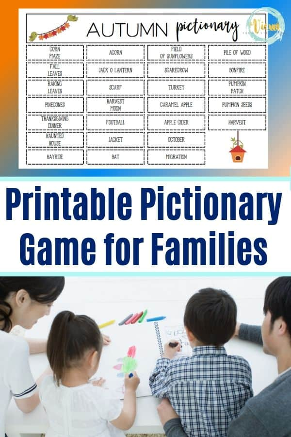 picture of family drawing playing pictionary printable game